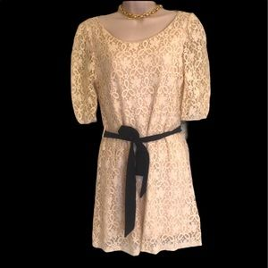 Just ginger ivory lace dress with black bow S